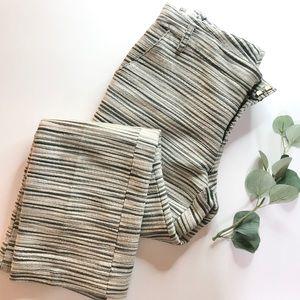 Tory Burch Silk Blend Grey Striped Textured Pants